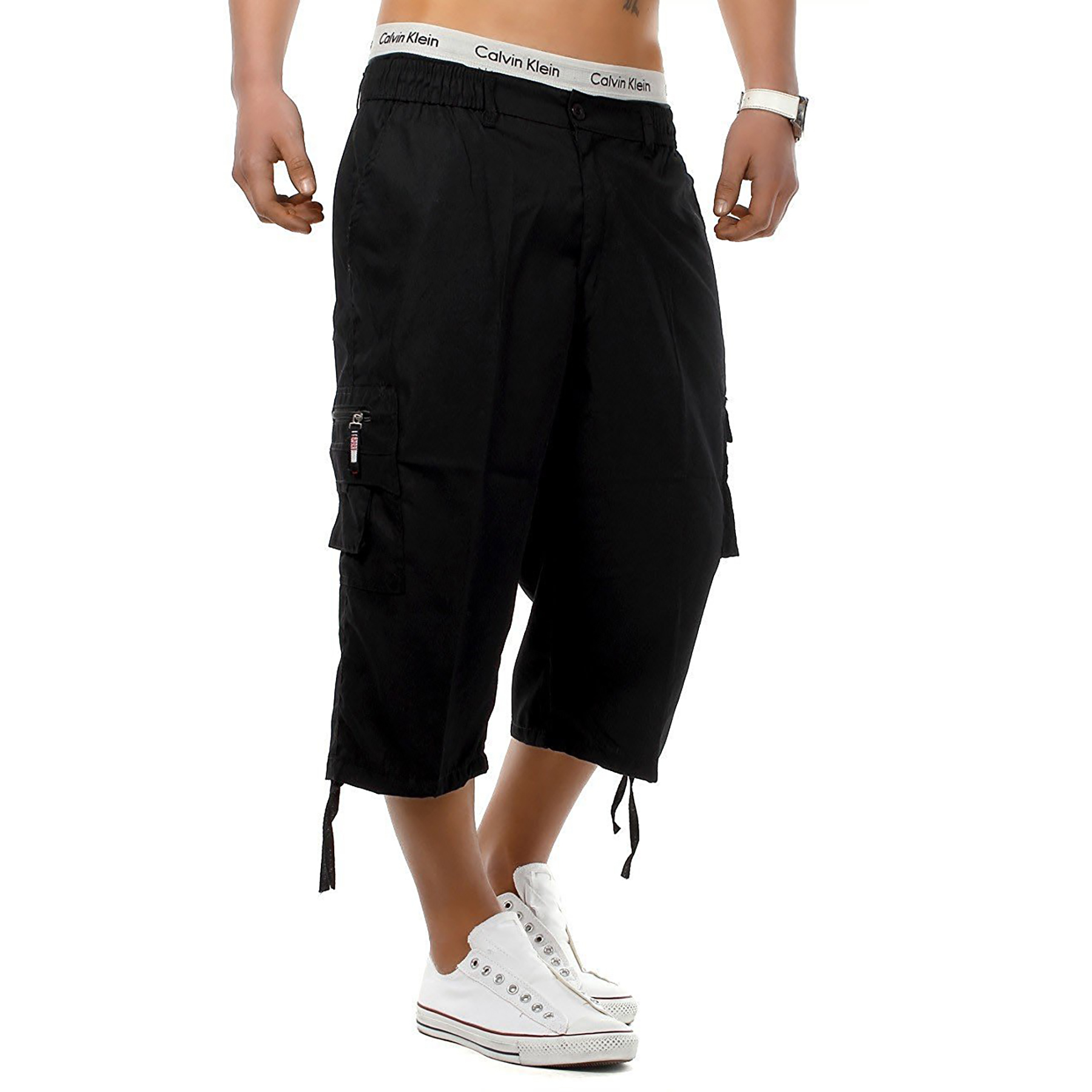 Mens-3-4-Long-Length-Shorts-Elasticated-Waist-Cargo-Combat-Three-Quarter-Shorts thumbnail 5