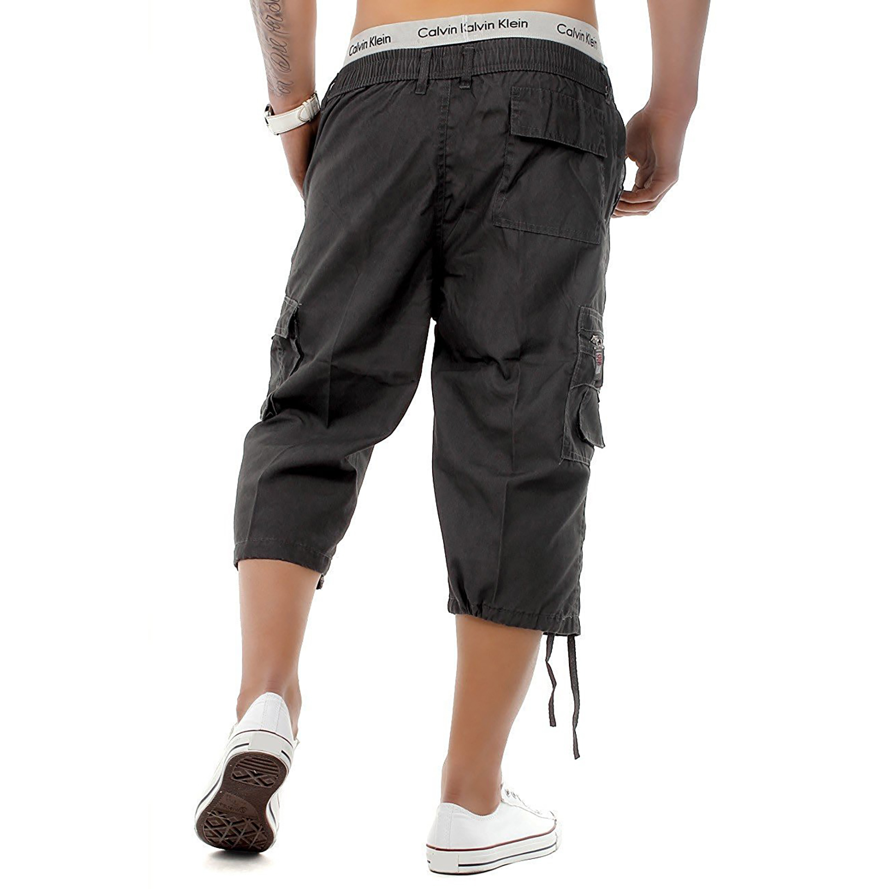 Mens-3-4-Long-Length-Shorts-Elasticated-Waist-Cargo-Combat-Three-Quarter-Shorts thumbnail 8