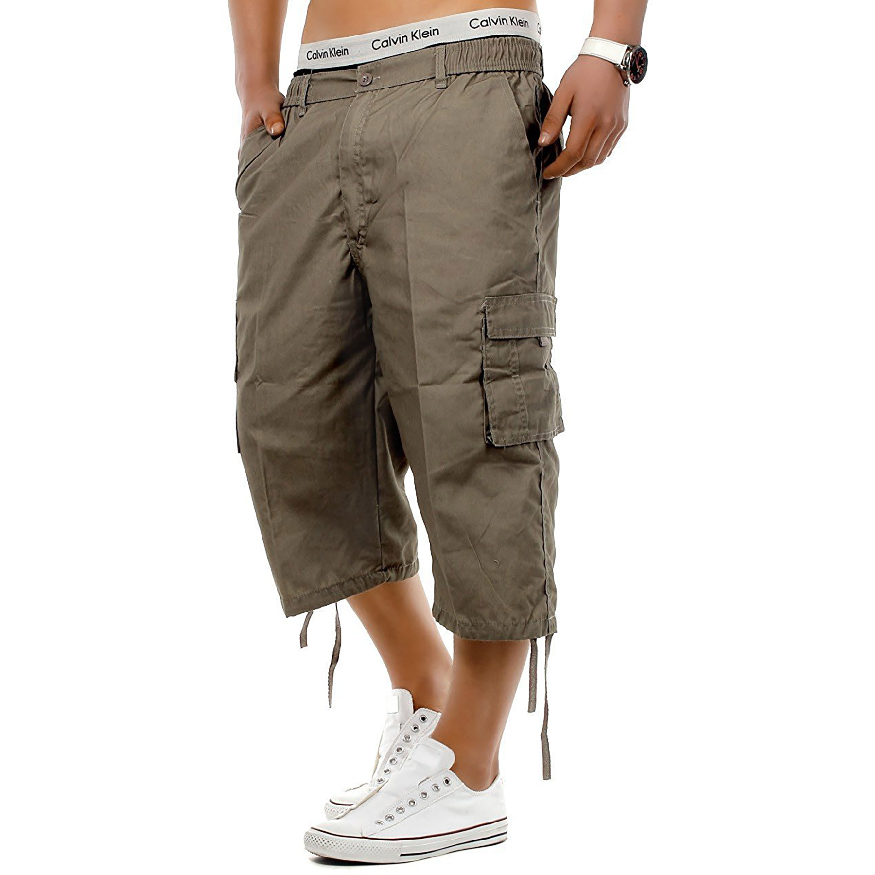 Mens-3-4-Long-Length-Shorts-Elasticated-Waist-Cargo-Combat-Three-Quarter-Shorts thumbnail 11