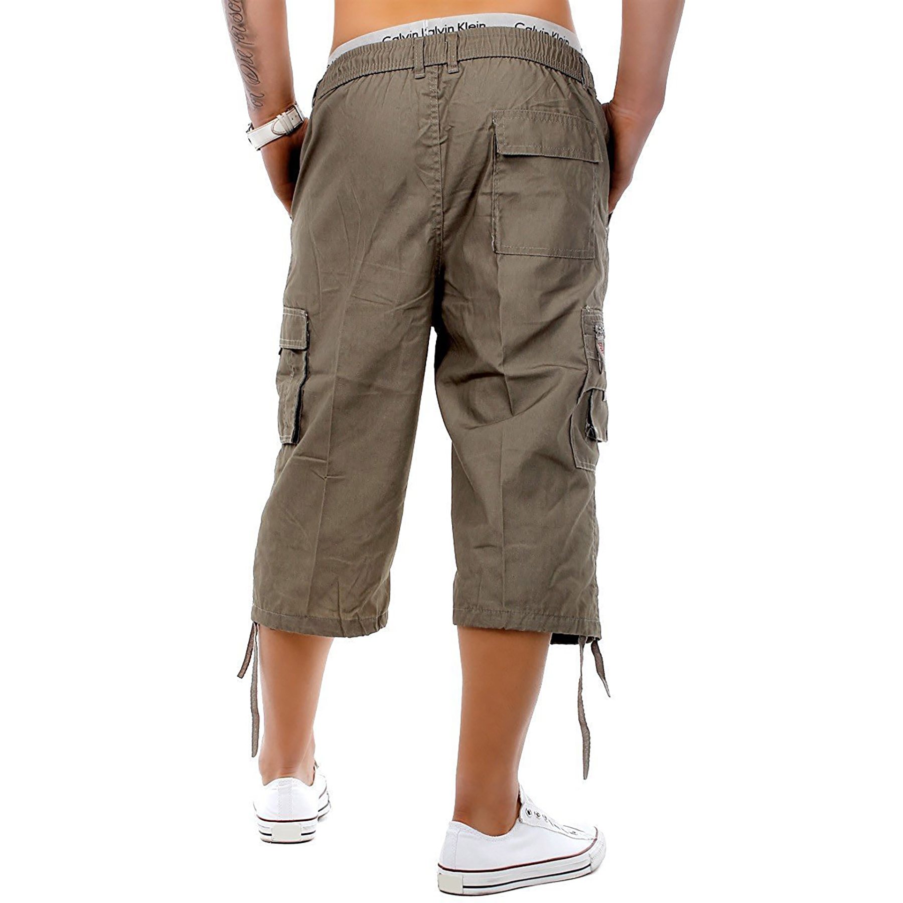 Mens-3-4-Long-Length-Shorts-Elasticated-Waist-Cargo-Combat-Three-Quarter-Shorts thumbnail 12